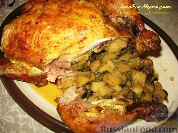 Фаршированная курица картофелем и грибами в духовке рецепт с фото