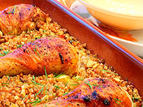 Мамины секреты «Курица, запеченная с гречкой»