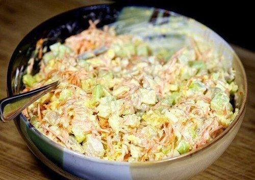 Мамины секреты «Морковный салат по-корейски с курицей и огурцами»