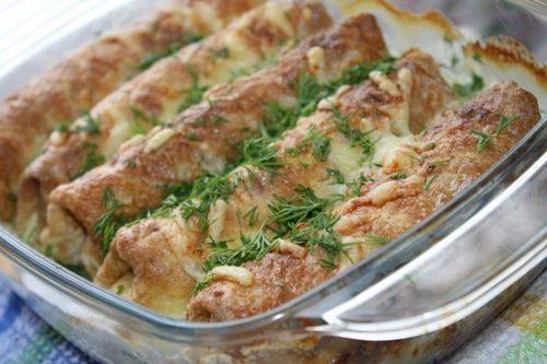 Мамины секреты «Рулетики с мясом и сыром, запеченные в сливках»