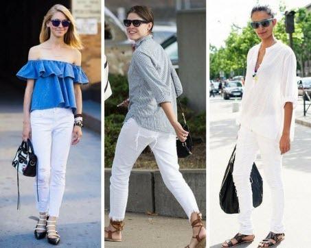 5 безупречных образов с белыми джинсами
