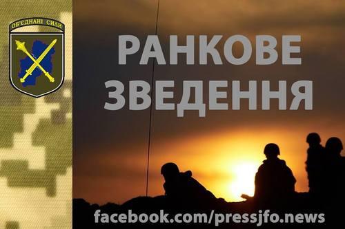 Зведення прес-центру об'єднаних сил  станом на 07:00 29 серпня 2018 року