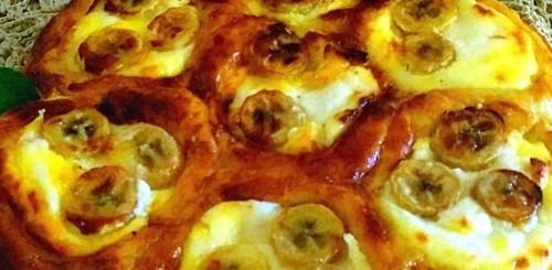 Ватрушечный пирог с творогом и бананом